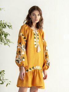 ЕтноДім Горчичное миди платье с вышивкой Jungle