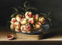 Натюрморт с персиками на оловянном блюде
