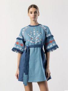Вишиті сукні Коротка лляна сукня з вишивкою Blue Bell