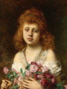 Харламов Алексей Золотисто-каштановая красавица с красными розами