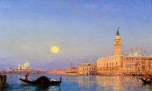 Зим Феликс Гондола на фоне Великой лагуны, Венеция