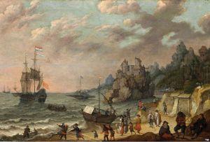 Барокко Голландский торговый корабль в гавани