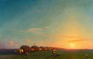 Айвазовский Иван Широкий пейзаж с поселенцами