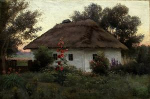 Волков Ефим Украинский пейзаж с хатой