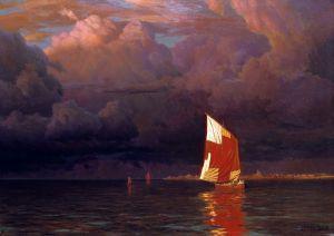 Парусник на закате в Финском заливе