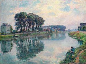 Рыбалка на берегу реки Марн в Ланьи, Франция