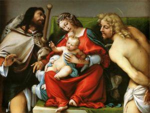 Лотто Лоренцо Мадонна со Святым Рохом и Святым Себастьяном