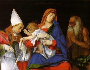 Лотто Лоренцо Мадонна с епископом и Святым Онуфрием