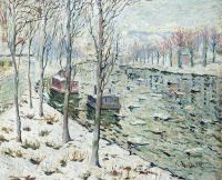Canal Scene In Winter 2