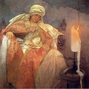 Муха Альфонс Woman with a Burning Candle