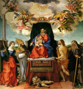 Лотто Лоренцо Enthroned Madonna with angels and saints st catherine of alexandria and st augustine