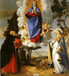 Лотто Лоренцо Asolo altarpiece main panel scene of the assumption with st anthony the abbot and st louis