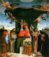 Enthroned Madonna with angels and saints st joseph and st bernard on the left st john