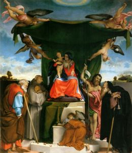 Лотто Лоренцо Enthroned Madonna with angels and saints st joseph and st bernard on the left st john