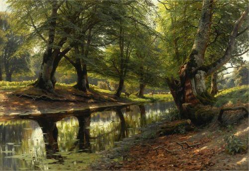 Река в долине и олени
