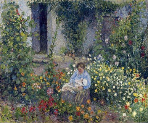 Джули и Людовик Родольф Писсарро среди цветов