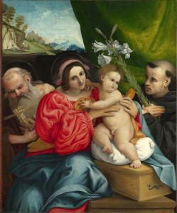 Лотто Лоренцо Мадонна с младенцем и святыми