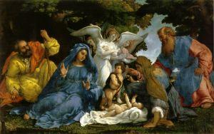 Лотто Лоренцо Святое семейство с ангелами и святыми