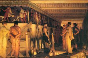 Альма-Тадема Лоуренс Фидий показывает бордюр Парфенона своим друзьям