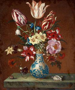 Натюрморт с тюльпанами, нарциссами и пионами на каменной плите