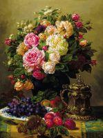 Букет роз и фрукты на столе