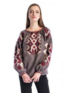 Вышитая рубашка с геометрическим орнаментом Line Grey