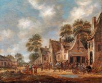 Деревенская улица с крестьянами