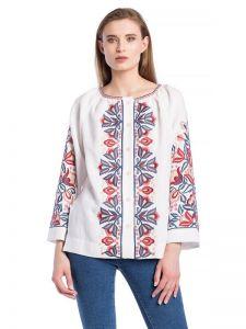 Женские вышиванки Белая блузка с растительным орнаментом Bright 1