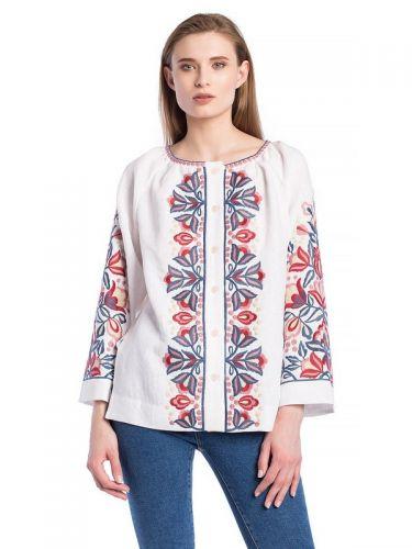 Белая блузка с растительным орнаментом Bright 1