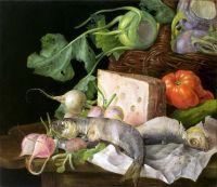 Натюрморт с рыбой, сыром, овощами и нотным листом