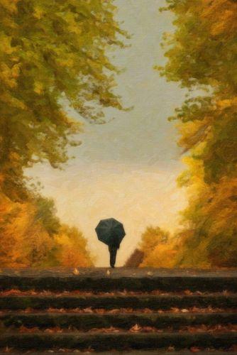 Одинокий человек с зонтиком