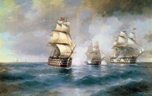 Айвазовський Іван Бриг «Меркурій», атакований двома турецькими кораблями