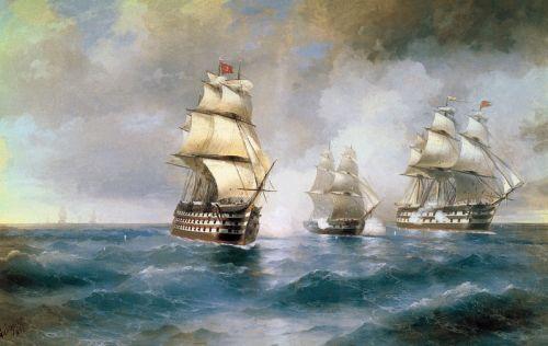 Бриг «Меркурій», атакований двома турецькими кораблями
