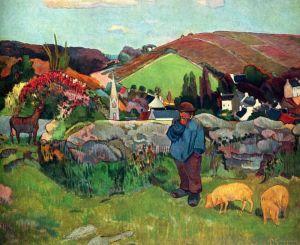 Гоген Поль Свиное стадо, Бретань