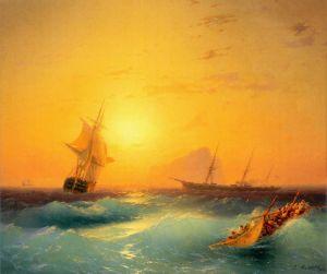 Айвазовський Іван Американські судна біля скелі Гібралтару