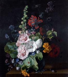Хейсум Ян ван Мальвы и другие цветы в вазе