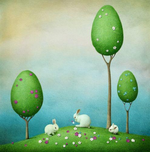 Три кролика и три дерева