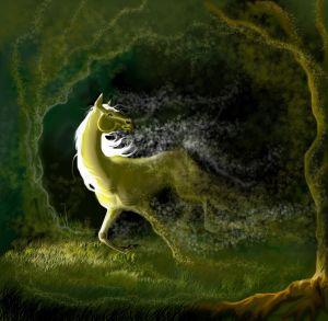 Рисунок лошади в лесу