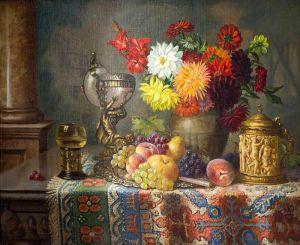 Черноцкий Эрнст Натюрморт с цветами и фруктами