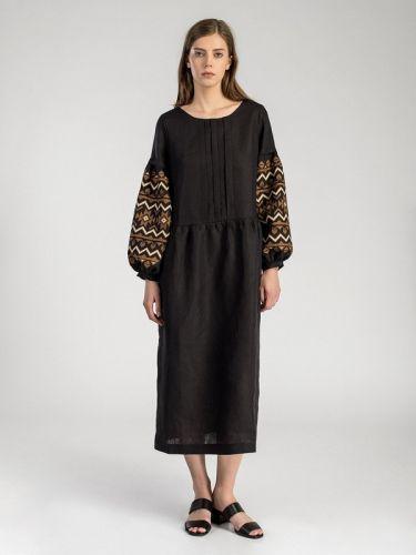 Длинное черное платье с вышивкой на пышных рукавах MD23 Black
