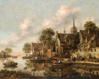 Речной пейзаж с деревней и фигурами в лодках