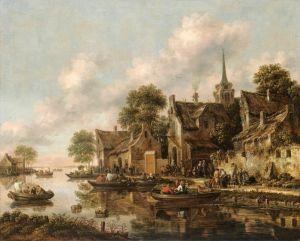 Хереманс Томас Речной пейзаж с деревней и фигурами в лодках