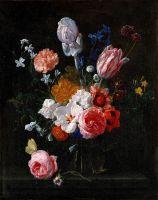 Букет цветов в стеклянной вазе
