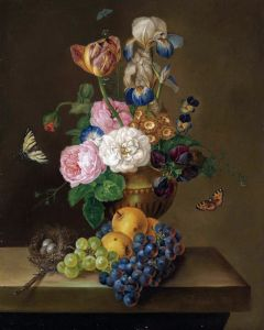 Барокко Натюрморт с цветами в вазе, фруктами и гнездом на каменном выступе