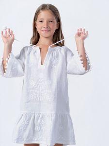 Вышиванки детские Вышитое платье с белого льна Lavina