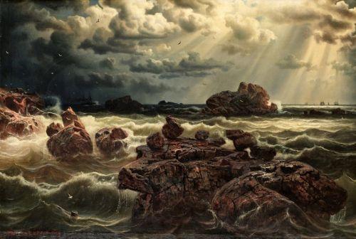 Прибрежный пейзаж с кораблями на горизонте