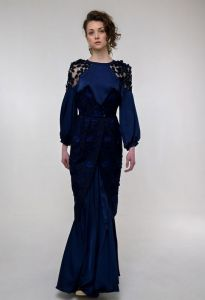 Жіночі вишиванки Вишита сукня Наречена темносиня