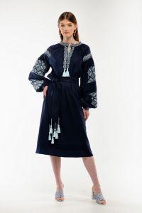 Женские вышиванки Платье вышиванка Спадок темносиняя