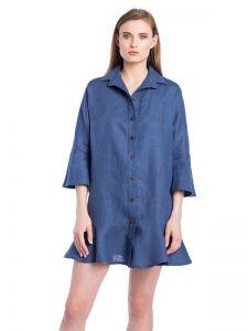ЕтноДім Синя лляна сукня-сорочка з рукавами-кльош EASY9
