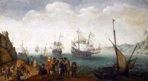 Морской пейзаж с пятью судами, входящими в гавань и группой людей, торгующихся на берегу
